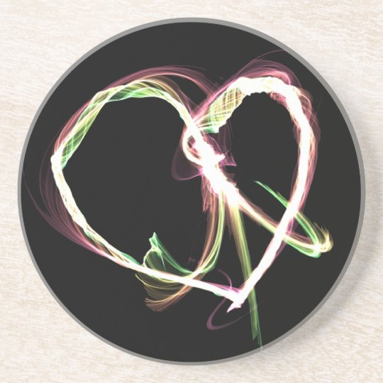 Peace and Love black Drink Coaster