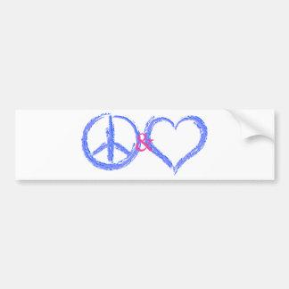 Peace and Love Bumper Sticker