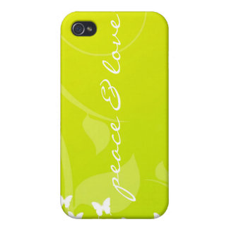 Peace And Love Butterfly  Cover For iPhone 4