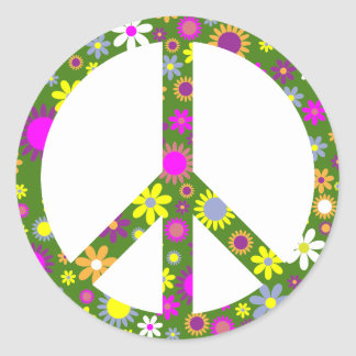 Peace and love classic round sticker