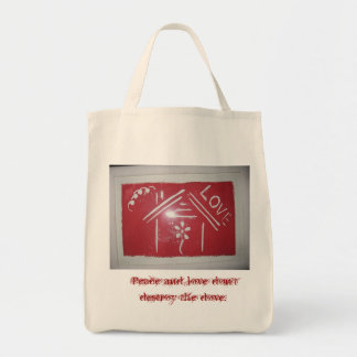 Peace and love don't destroy the dove. grocery tote bag