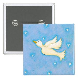 Peace and Love - Dove bird hearts fun pretty art Pinback Button