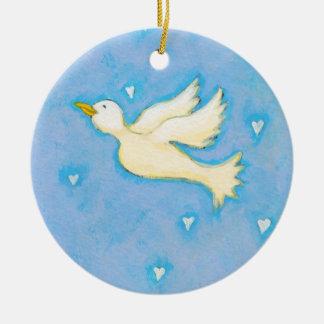 Peace and Love dove bird hearts fun pretty art Ceramic Ornament