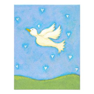 Peace and Love dove bird hearts fun pretty art Invitations