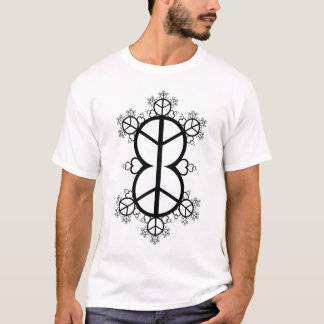 Peace and Love Fractal (black) T-Shirt