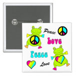 Peace and Love Frogs Square 2 Inch Square Button