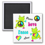 Peace and Love Frogs Square Refrigerator Magnet