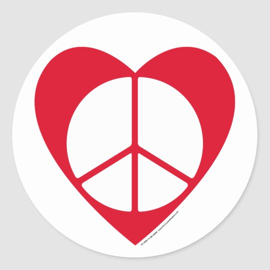 Peace and Love Heart Classic Round Sticker