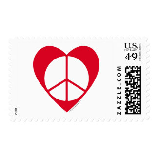Peace and Love Heart Postage Stamp