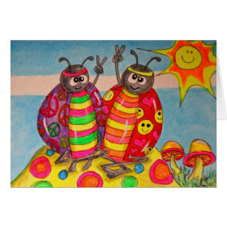Peace and Love Hippie Lady Bugs Art Card