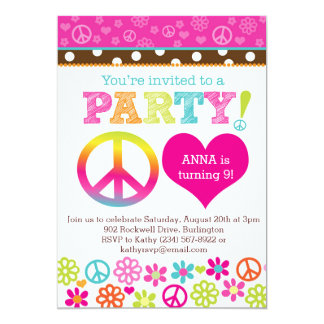 "Peace and Love Hippie Party Invitation 5"" X 7"" Invitation Card"