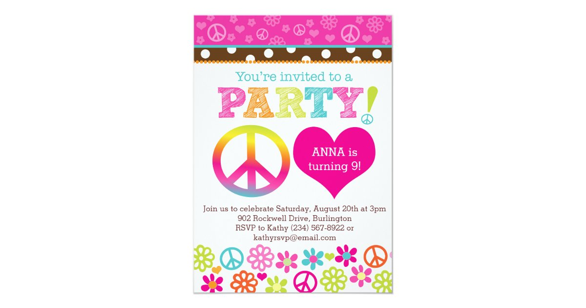 Peace and Love Hippie Party Invitation | Zazzle.com