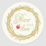 Peace and Love Holiday Gift Tag Stickers