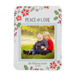 Peace and Love   Holiday Photo Rectangular Photo Magnet