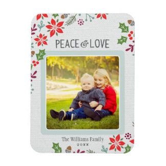 Peace and Love | Holiday Photo Rectangle Magnets