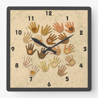 PEACE AND LOVE IN HANDS SQUARE WALL CLOCKS