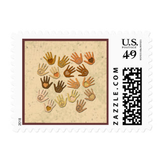 PEACE AND LOVE IN HANDS POSTAGE STAMP