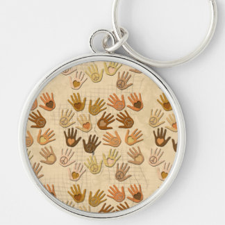 PEACE AND LOVE IN HANDS Silver-Colored ROUND KEYCHAIN