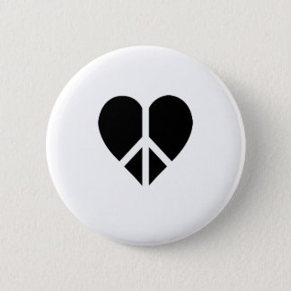 Peace and love in one heart button