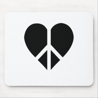 Peace and love in one heart mouse pad