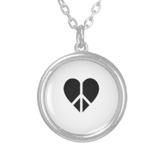 Peace and love in one heart necklaces