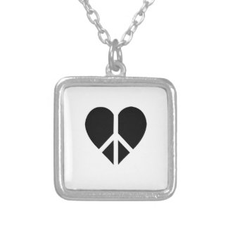 Peace and love in one heart personalized necklace