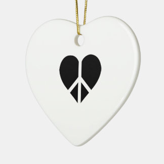 Peace and love in one heart Double-Sided heart ceramic christmas ornament