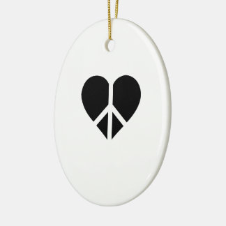 Peace and love in one heart Double-Sided oval ceramic christmas ornament
