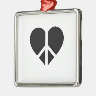 Peace and love in one heart square metal christmas ornament