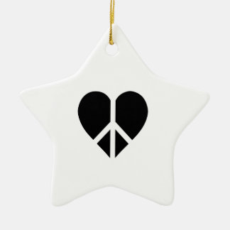 Peace and love in one heart Double-Sided star ceramic christmas ornament