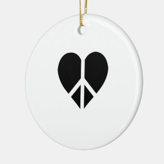 Peace and love in one heart Double-Sided ceramic round christmas ornament