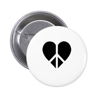 Peace and love in one heart pin