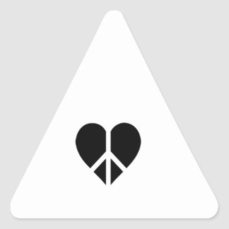 Peace and love in one heart triangle stickers