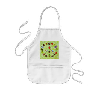 peace and love insects kids' apron