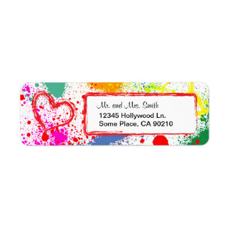 Peace and Love Paint Splatter (customizable) Custom Return Address Label