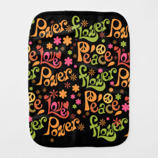 Peace and Love Pattern Baby Burp Cloths