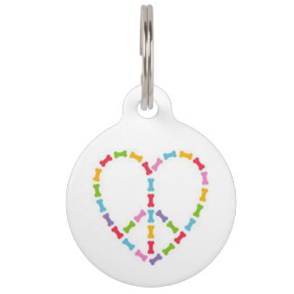 Peace and Love Pet ID Tag