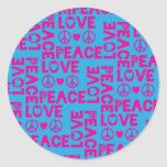 Peace and Love Pink Blue Classic Round Sticker