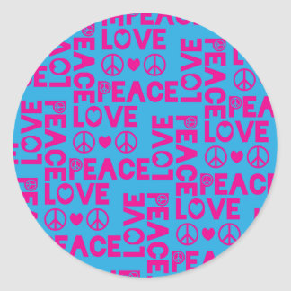 Peace and Love Pink Blue Sticker