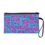 Peace and Love Pink Blue Wristlet Purse