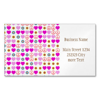 peace and love, pink magnetic business card