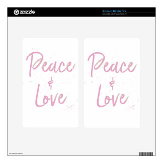 PEace-and-Love-Pink Skin For Kindle Fire