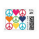Peace and Love Postage Stamp