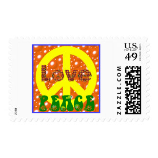 Peace and Love Poster 1960s 1970s Groovy! Postage Stamp