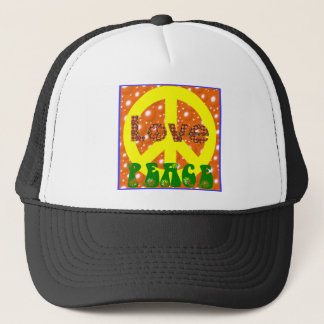 Peace and Love Poster 1960s 1970s Groovy! Trucker Hat