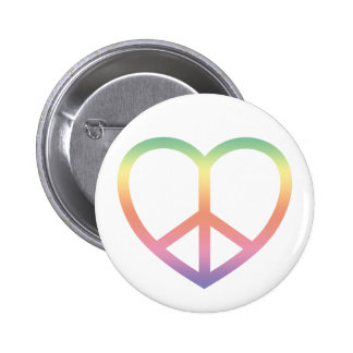 Peace and Love Rainbow Heart Button