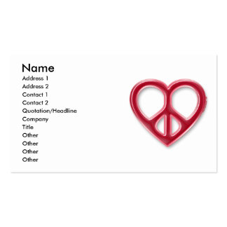 Peace and Love Red Profile Card Business Card Template