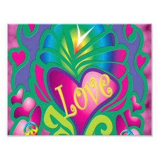 Peace and Love Retro Style Photo Print