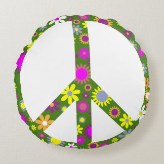 Peace and love round pillow