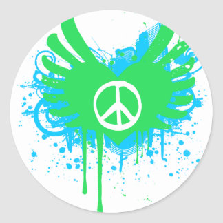 Peace And Love Round Sticker